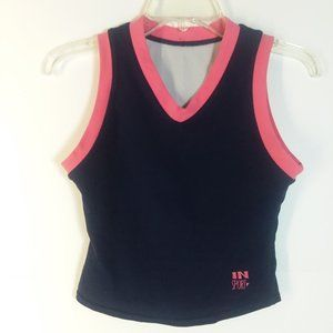 In Sport Sleeveless Crop Tank Top Navy/Coral Small